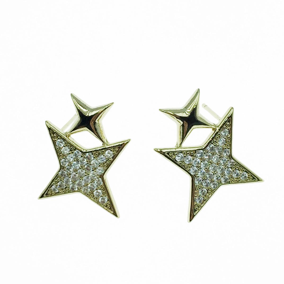 韓國 925純銀 星茫 光茫 水鑽 耳針式耳環