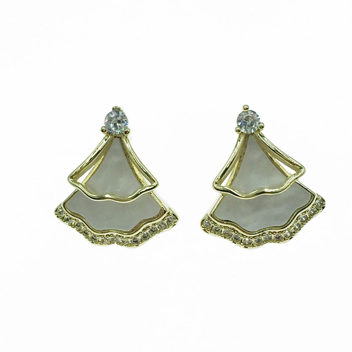 韓國 925純銀 水鑽 典雅 簍空 耳針式耳環