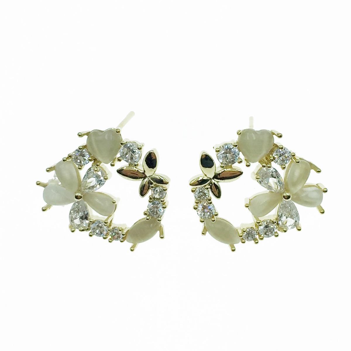 韓國 925純銀 花圈 水鑽 耳針式耳環