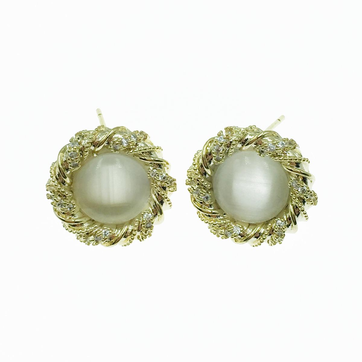 韓國 925純銀 螺旋金屬 水鑽 耳針式耳環