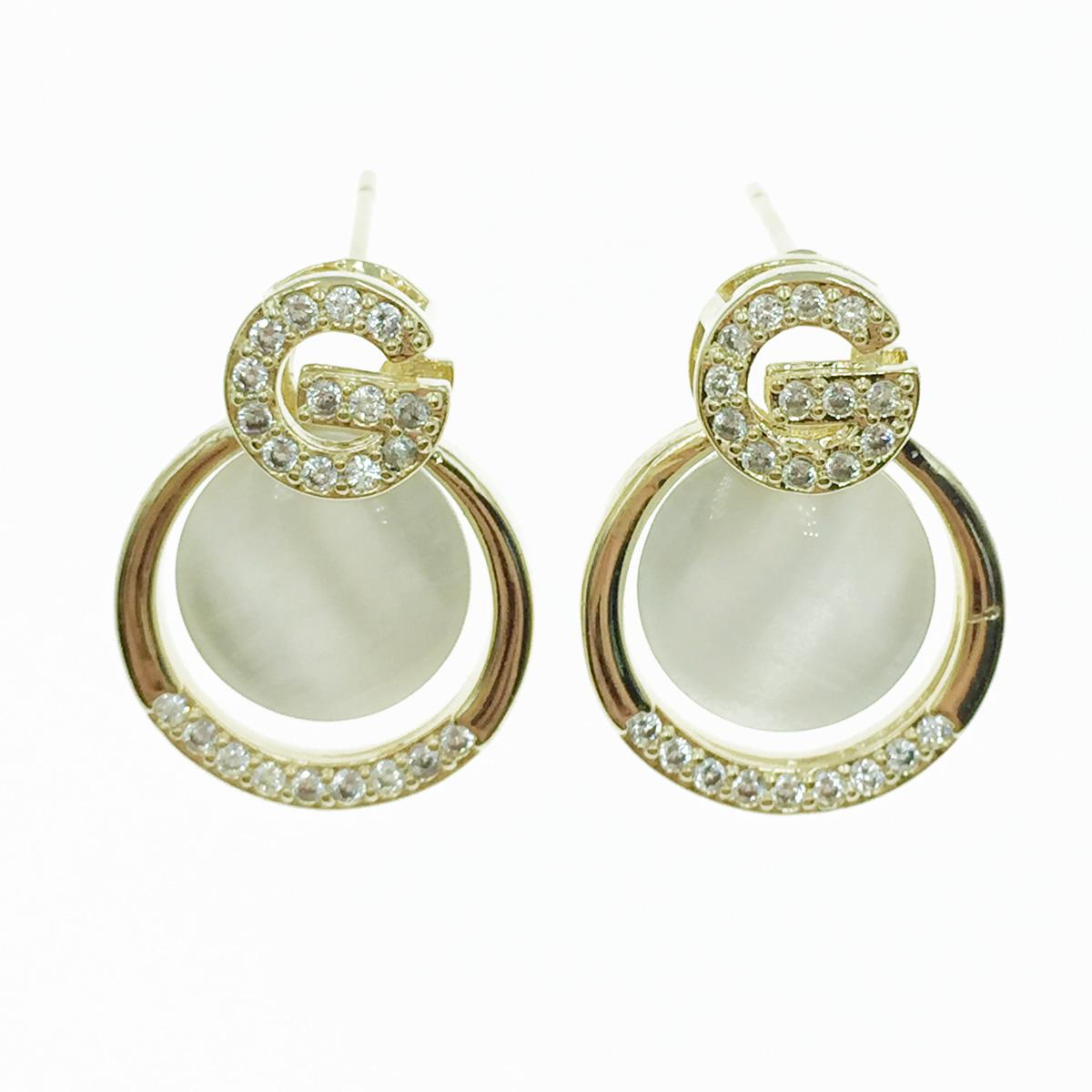 韓國 925純銀 水鑽 G 耳針式耳環