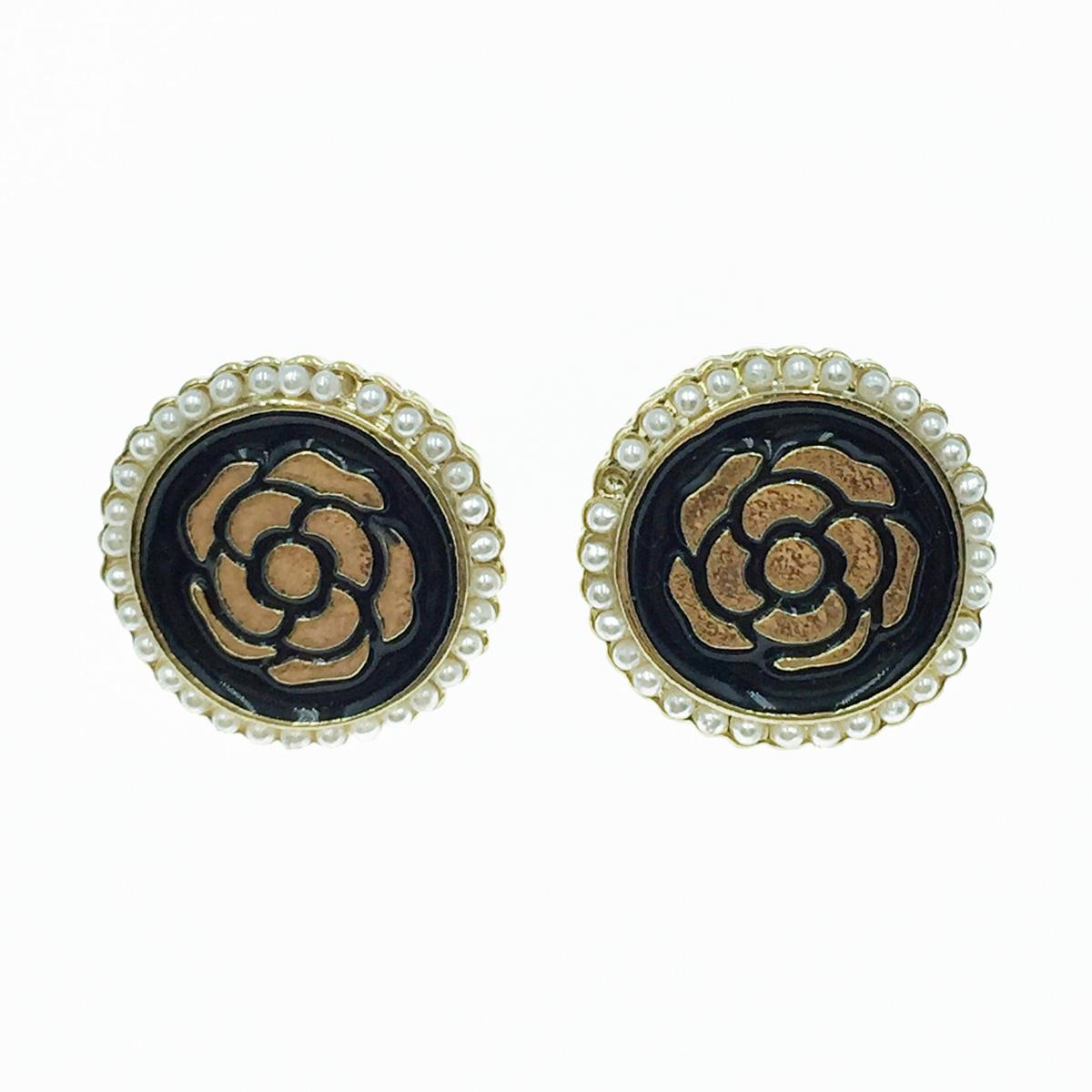 韓國 925純銀 小香風 珍珠 花 耳針式耳環