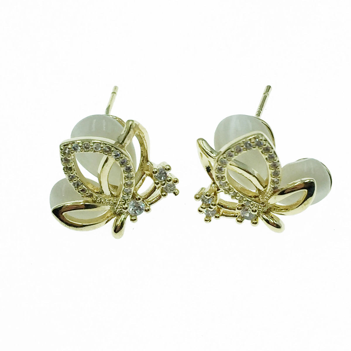 韓國 925純銀 蝴蝶 水鑽 耳針式耳環