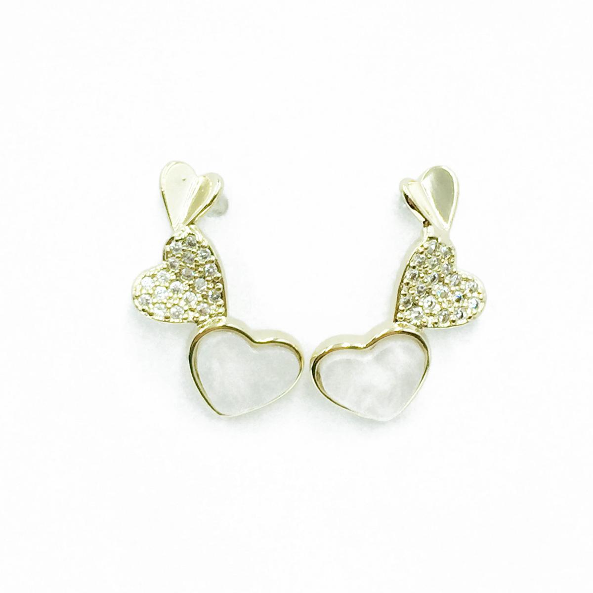 韓國 925純銀 愛心 水鑽 甜美 耳針式耳環