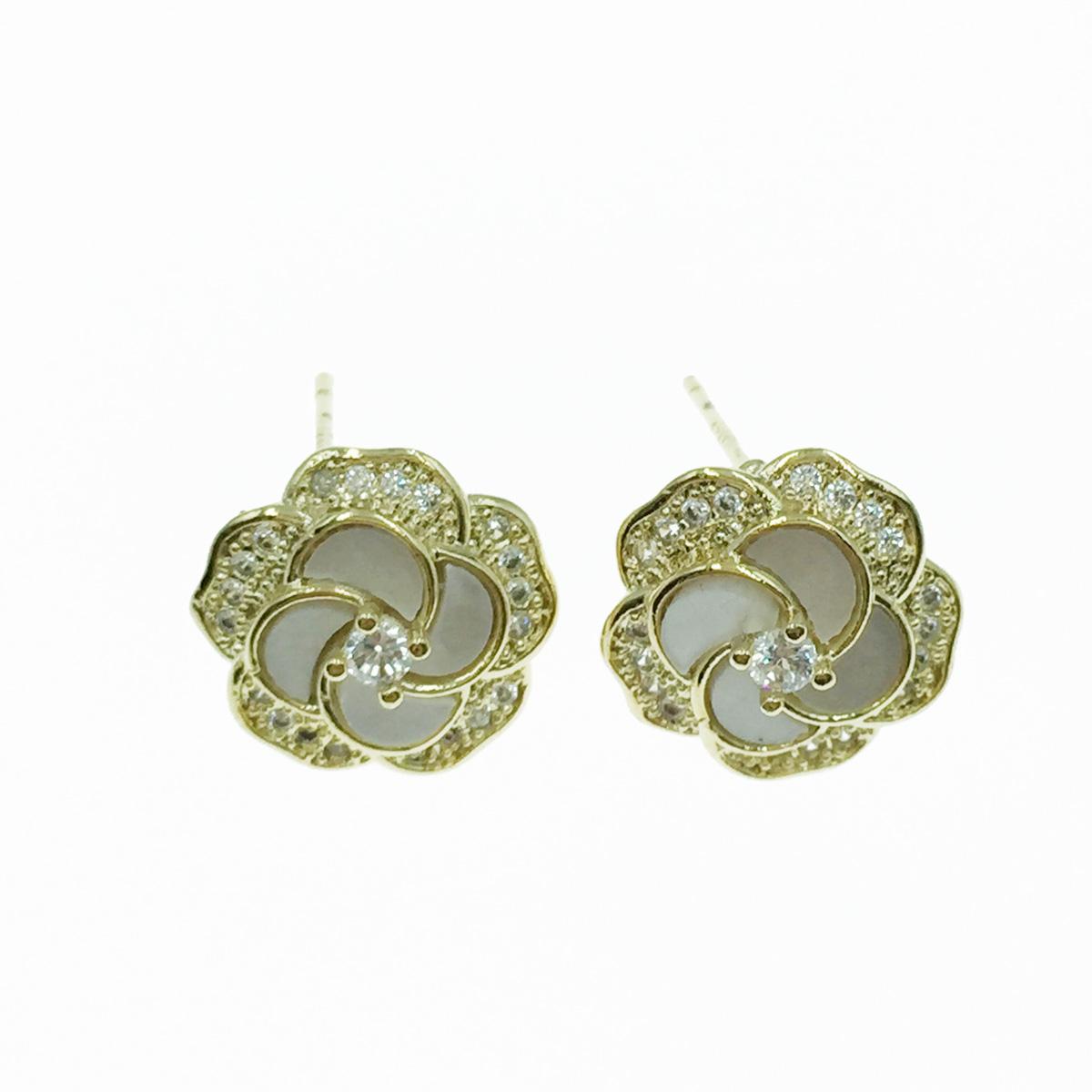 韓國 925純銀 花 水鑽 金邊 耳針式耳環