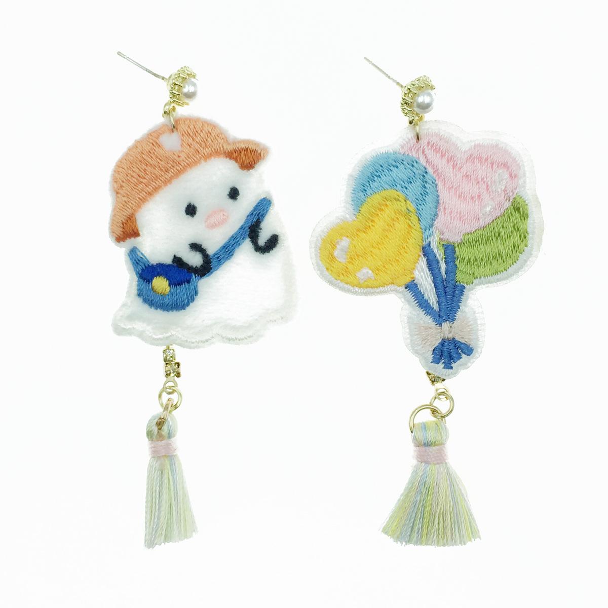 韓國 925純銀 燙布貼 氣球珍珠 流蘇 水鑽 垂墜感 耳針式耳環