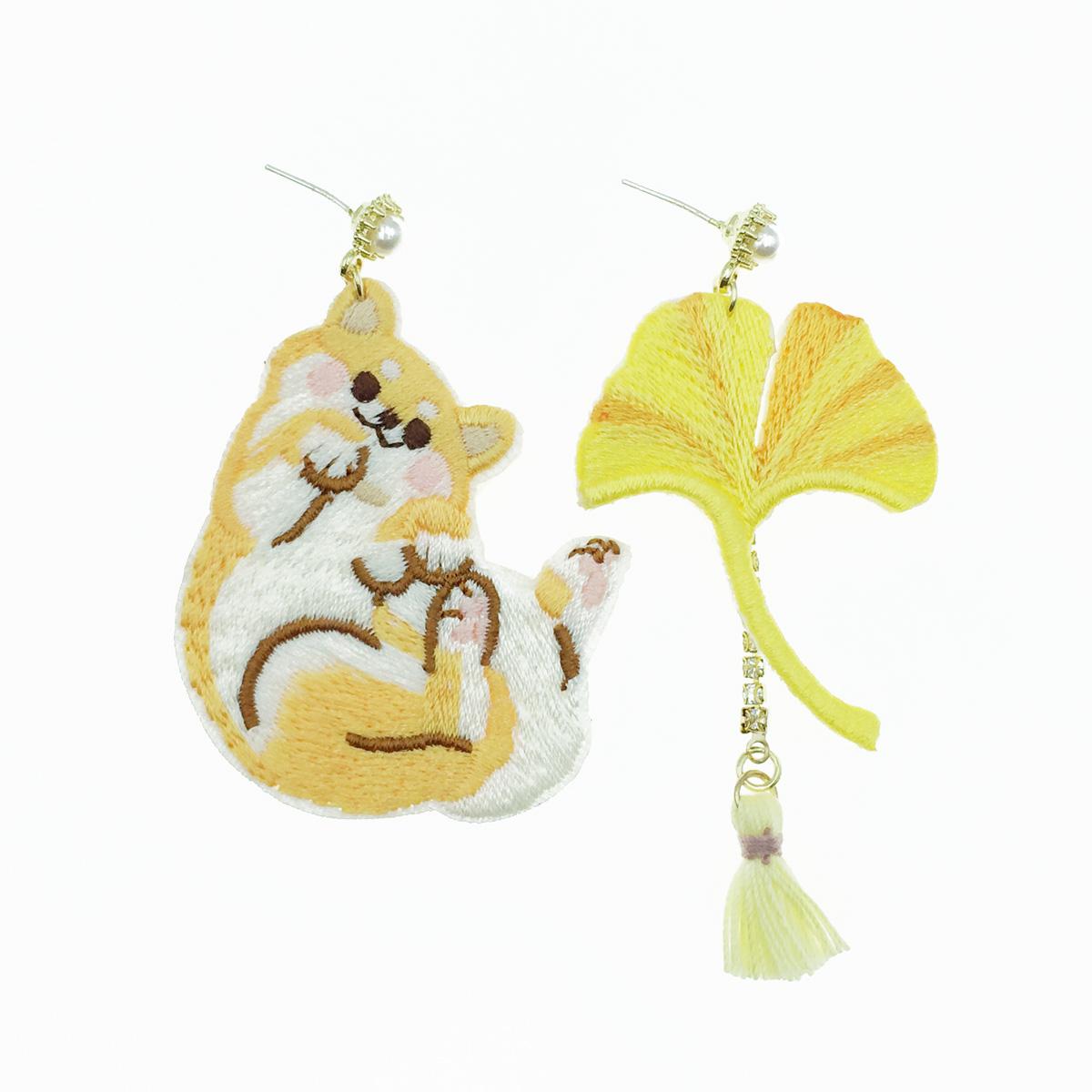 韓國 925純銀 貓咪 流蘇 黃 珍珠水鑽 不對稱 垂墜感 耳針式耳環