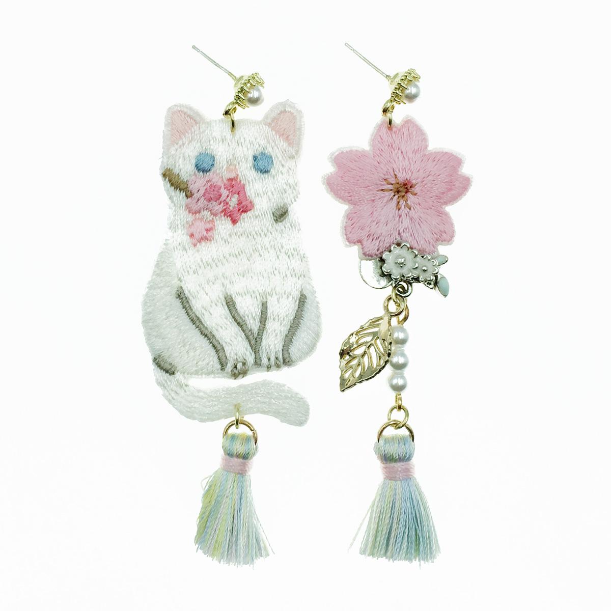 韓國 925純銀 貓咪 花葉子 燙布貼 珍珠流蘇 垂墜感 耳針式耳環