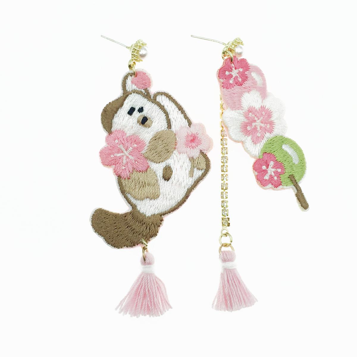韓國 925純銀 燙布貼 不對稱 花流蘇 珍珠水鑽 垂墜感 耳針式耳環
