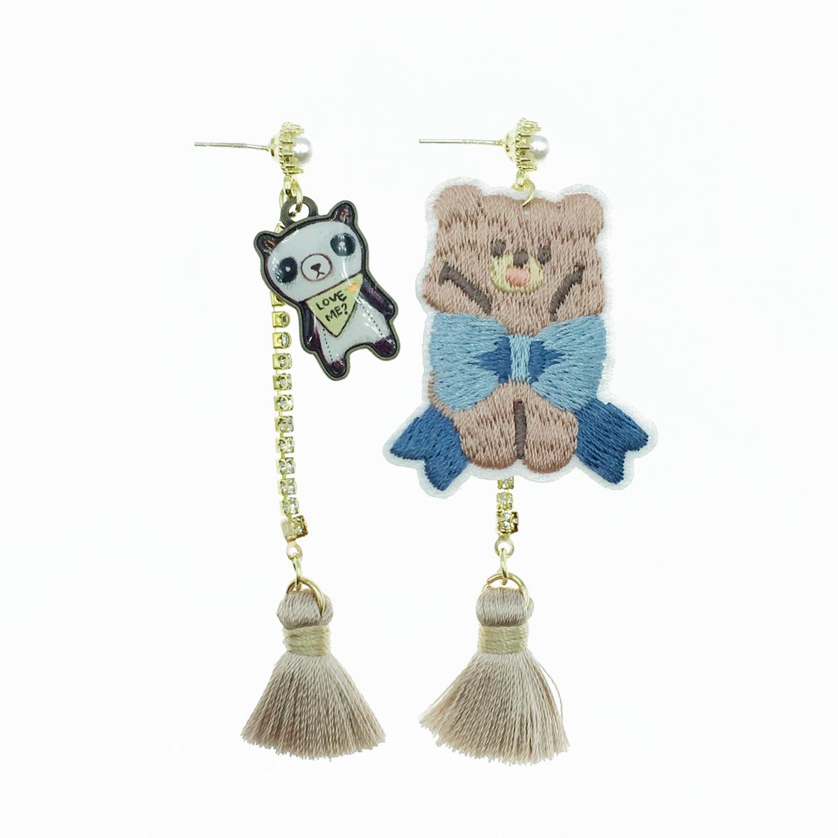 韓國 925純銀 熊 蝴蝶結 珍珠水鑽流蘇 燙布貼 垂墜感 耳針式耳環
