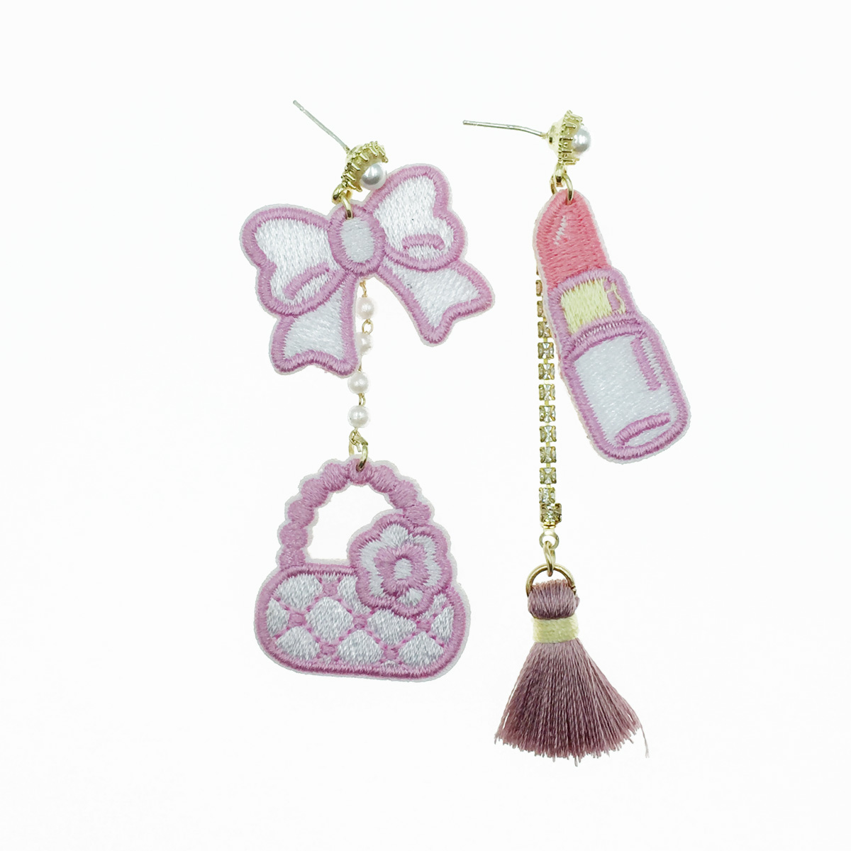 韓國 925純銀 蝴蝶結 包包 口紅 不對稱燙布貼 垂墜感 耳針式耳環