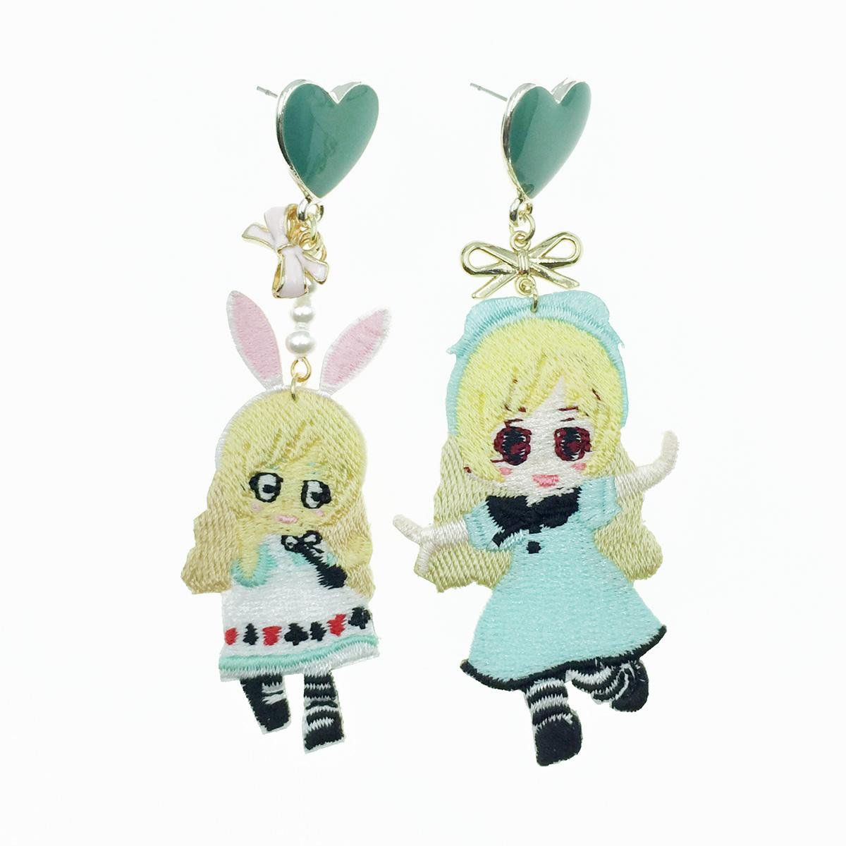 韓國 燙布貼 不對稱 女孩 愛心蝴蝶結 珍珠 垂墜感 耳針式耳環