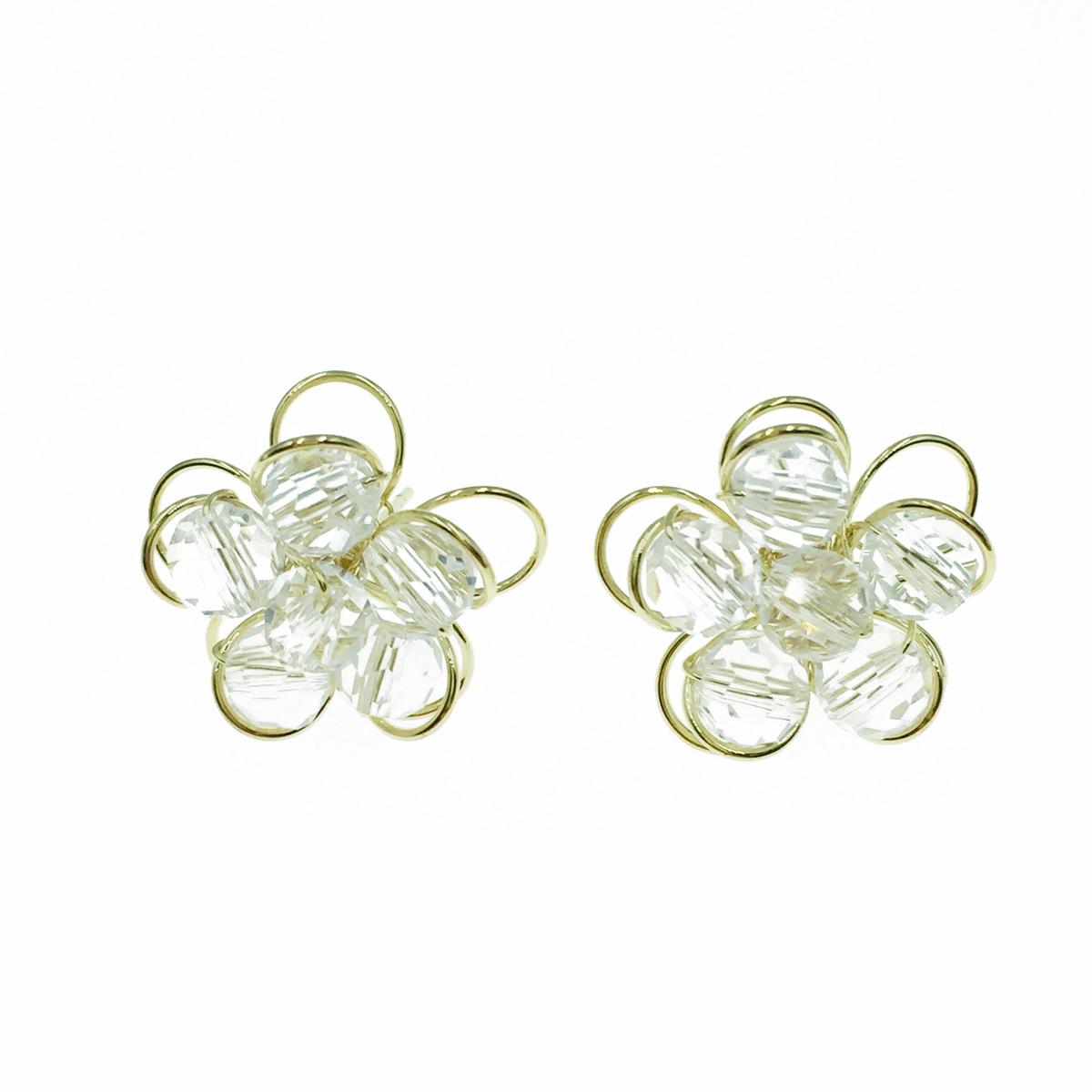 韓國 925純銀 水晶 簍空花瓣 耳針式耳環