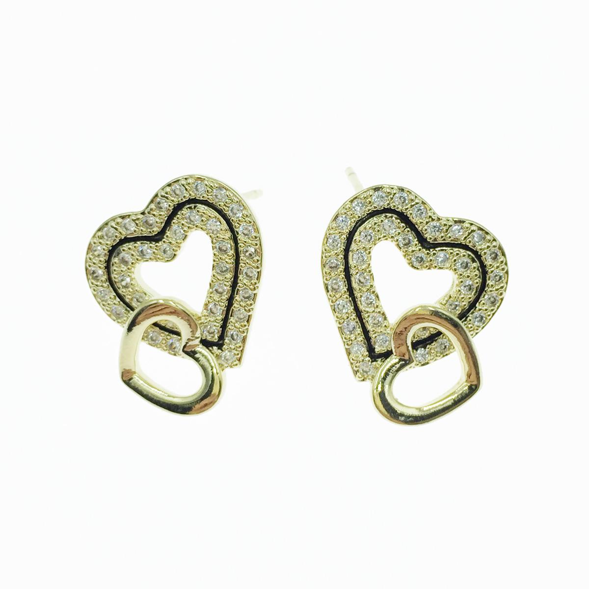 韓國 925純銀 雙愛心 簍空 水鑽 耳針式耳環