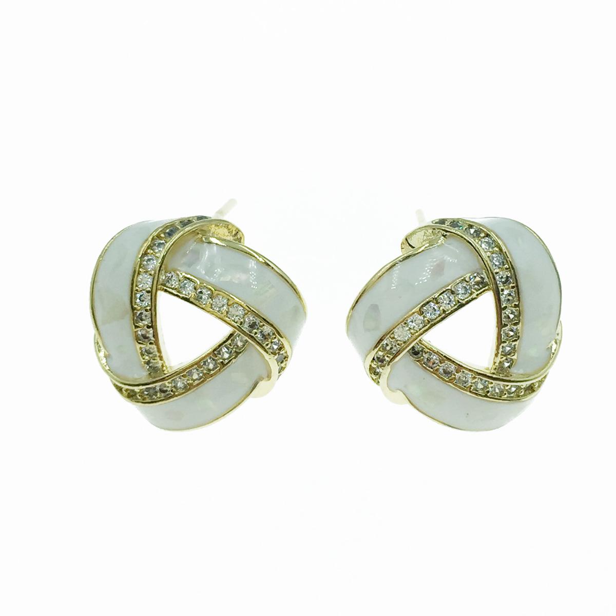 韓國 925純銀 簍空造型 水鑽 耳針式耳環