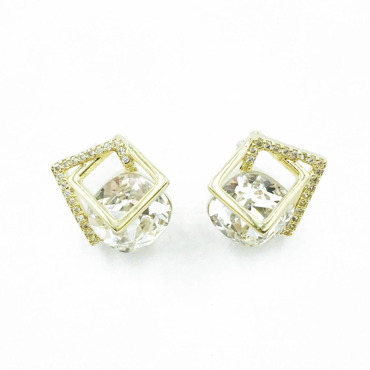 韓國 925純銀 簍空方形 水鑽 單鑽 耳針式耳環