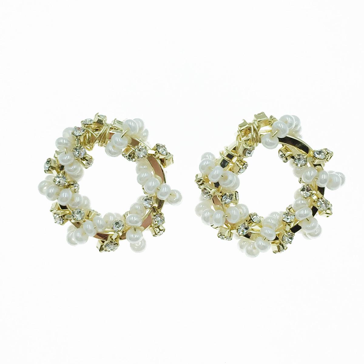 韓國 925純銀 簍空圓 珠珠 水鑽 耳針式耳環