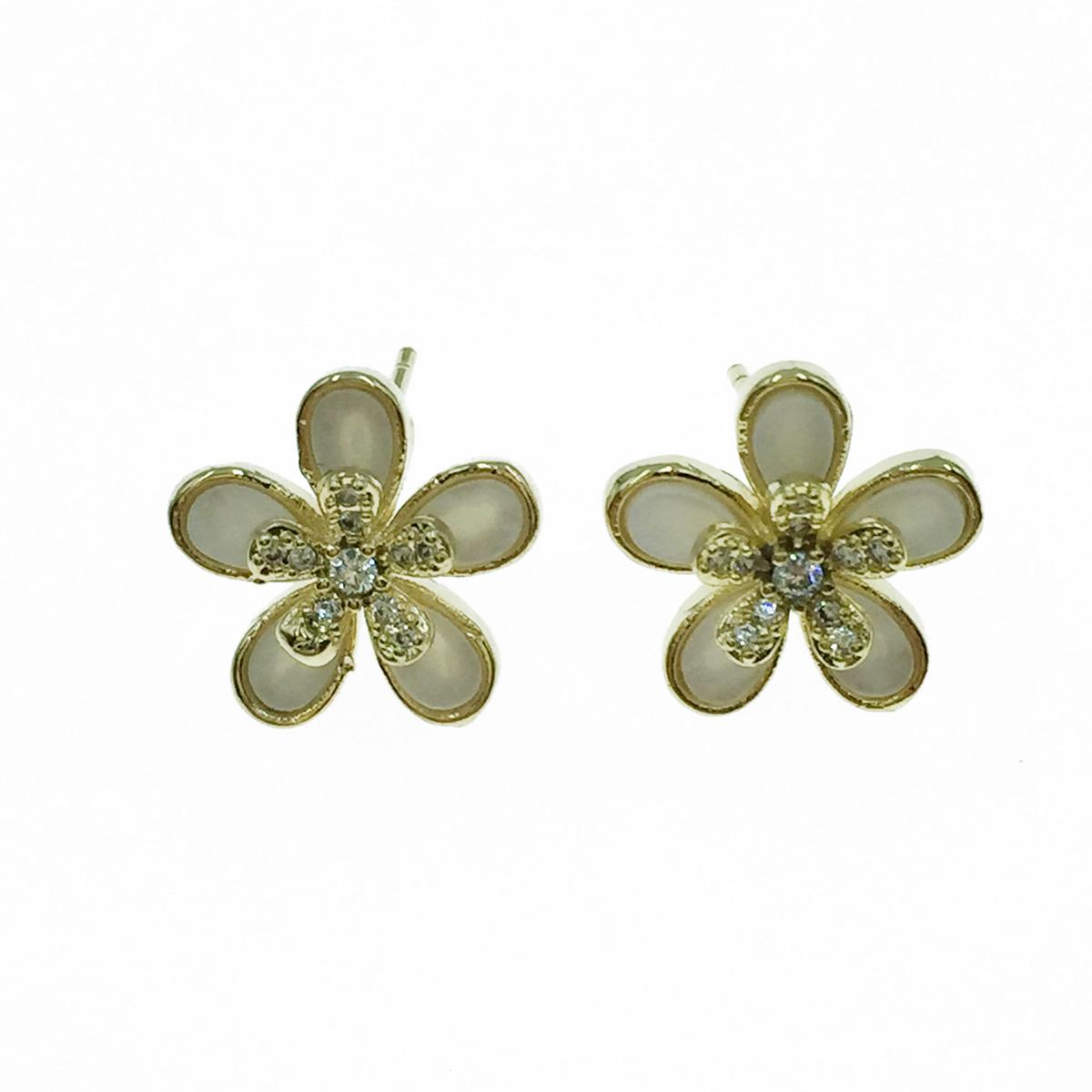 韓國 925純銀 雙花 水鑽 耳針式耳環