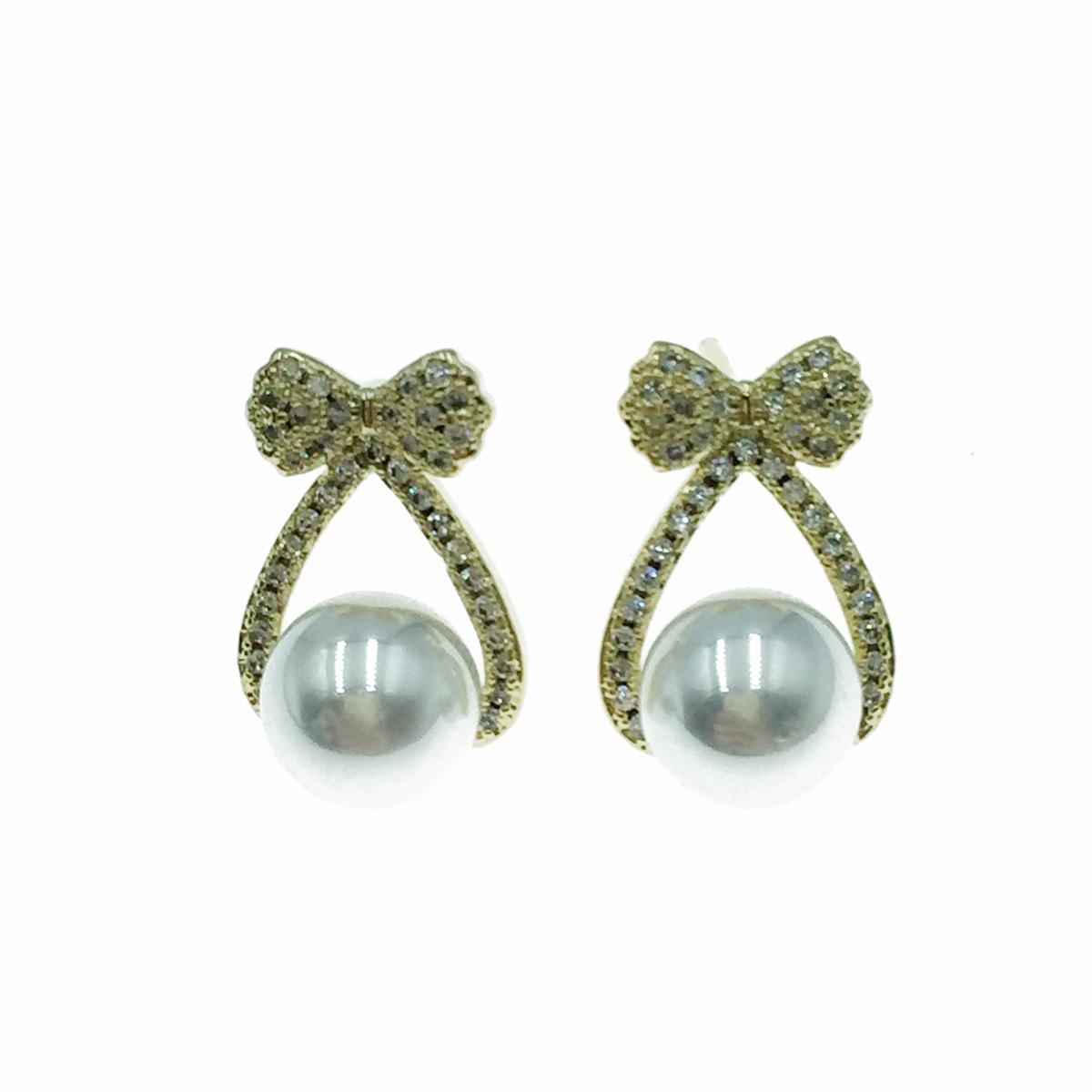 韓國 925純銀 蝴蝶結水鑽 珍珠 甜美 耳針式耳環