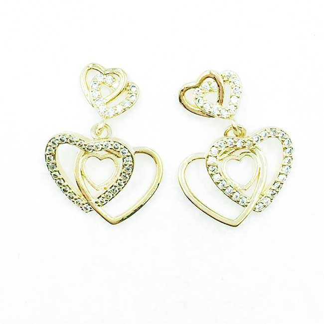 韓國 925純銀 簍空愛心 水鑽 垂墜感 耳針式耳環