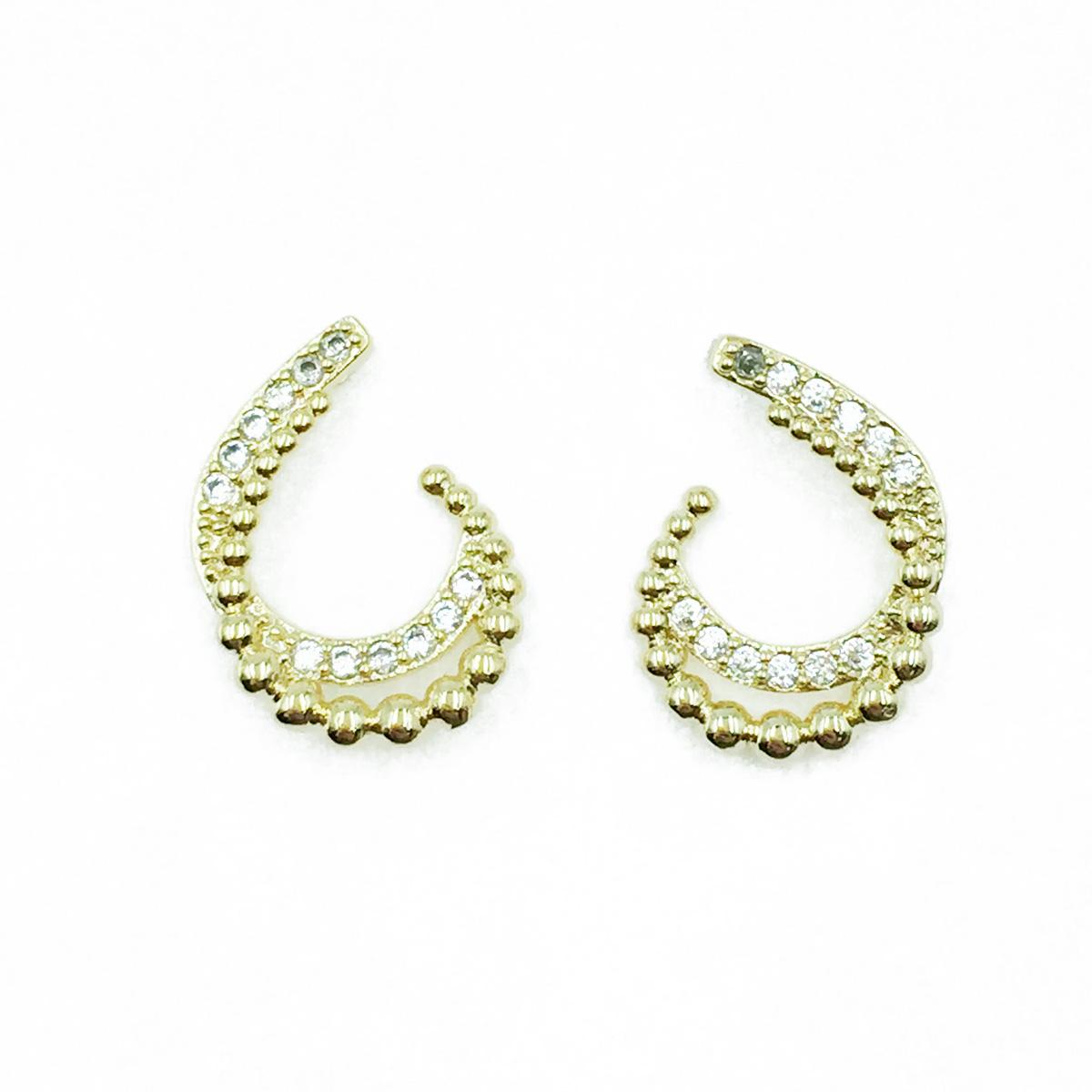 韓國 925純銀 勾勾 珠珠 水鑽 耳針式耳環