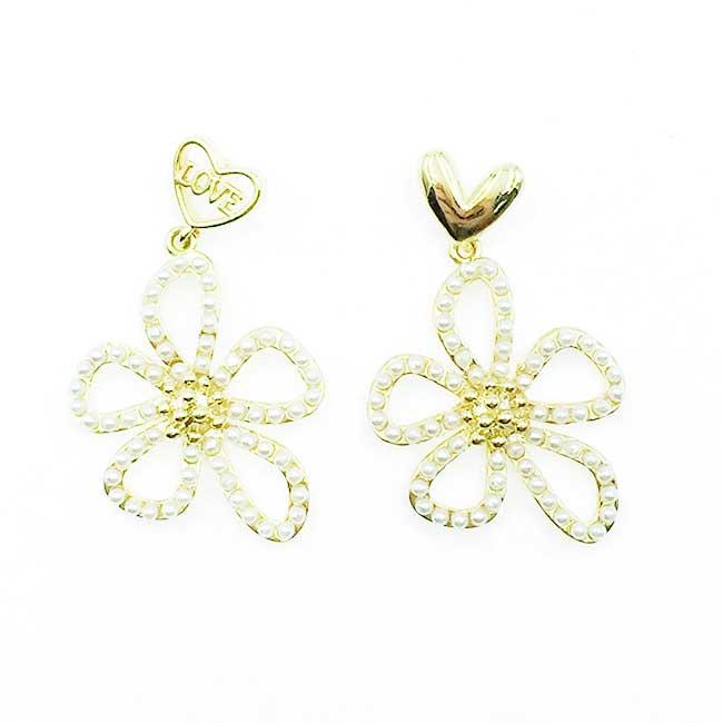 韓國 925純銀 簍空珍珠花 愛心 LOVE 垂墜感 耳針式耳環