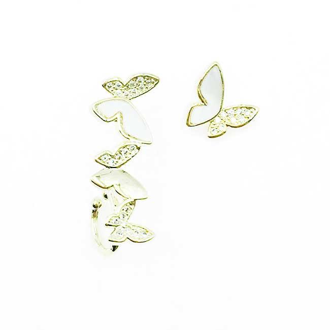 韓國 925純銀 不對稱 蝴蝶 水鑽 耳針式耳環