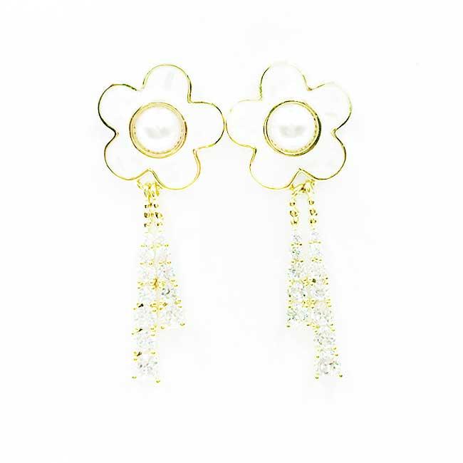 韓國 925純銀 花 珍珠 水鑽 垂墜感 耳針式耳環