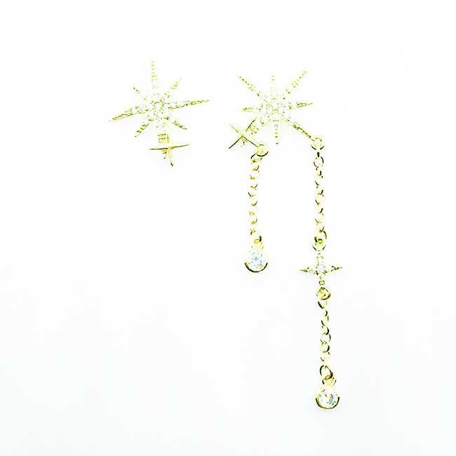 韓國 925純銀 星茫 光芒 不對稱 水鑽 垂墜感 耳針式耳環