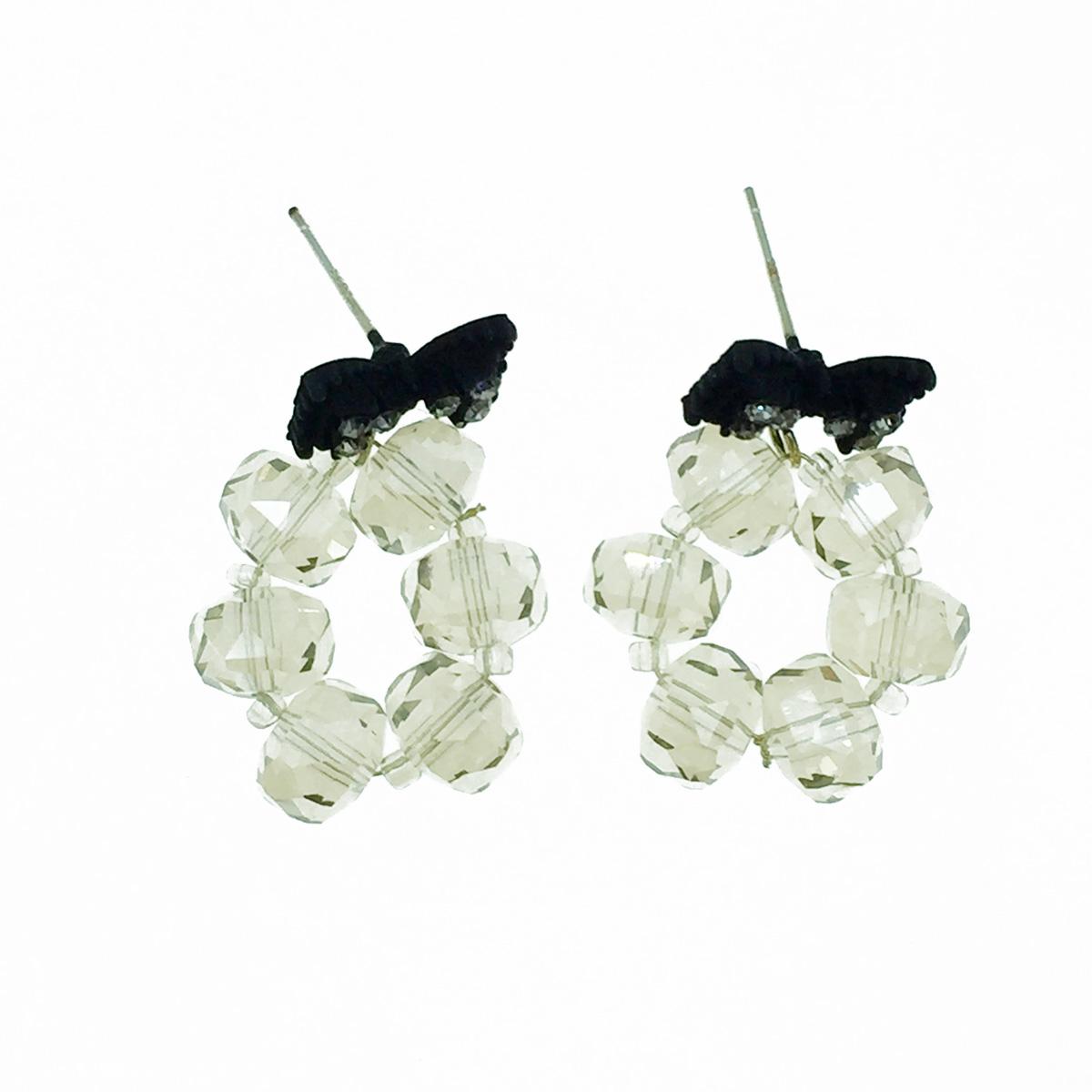韓國 925純銀 蝴蝶結 水鑽 水晶 垂墜感 耳針式耳環
