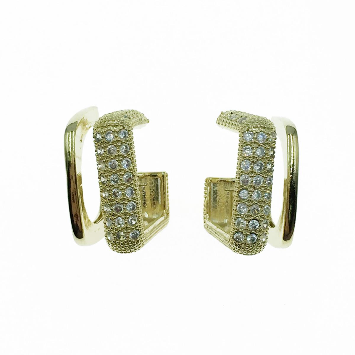 韓國 925純銀 簍空方形 水鑽 耳針式耳環