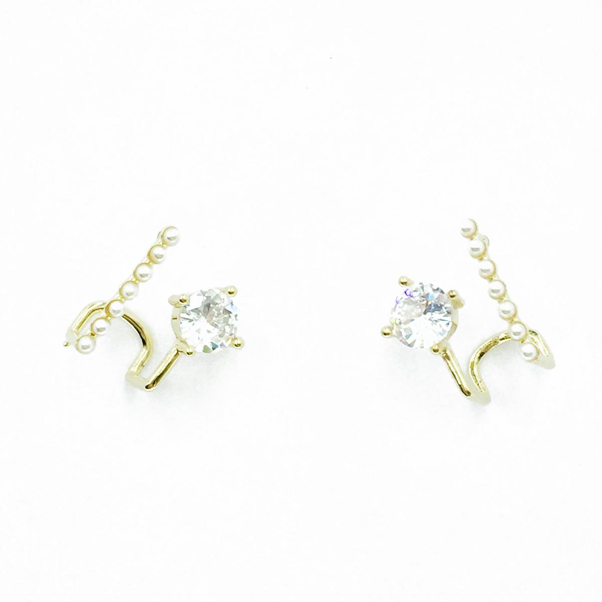 韓國 925純銀 爪單鑽 珍珠 耳針式耳環
