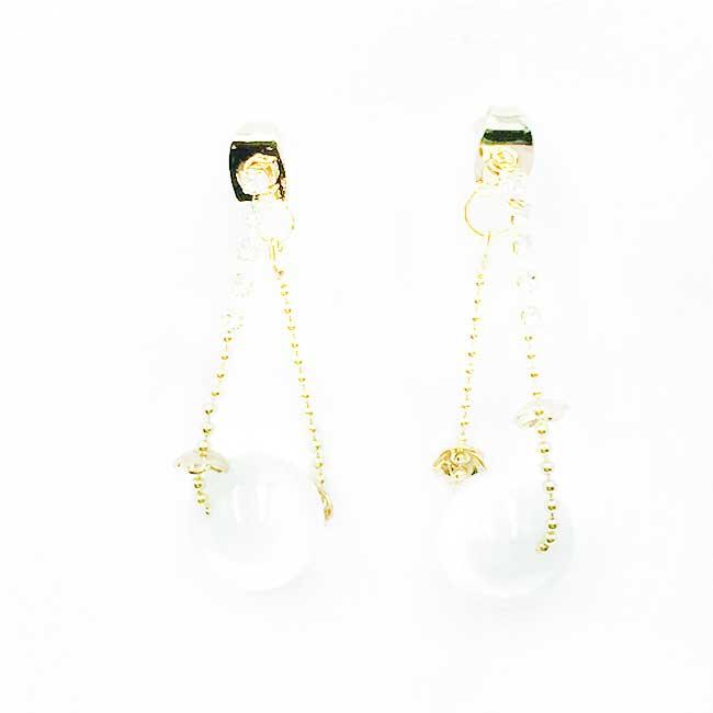 韓國 925純銀 水鑽鍊 垂墜感 耳針式耳環