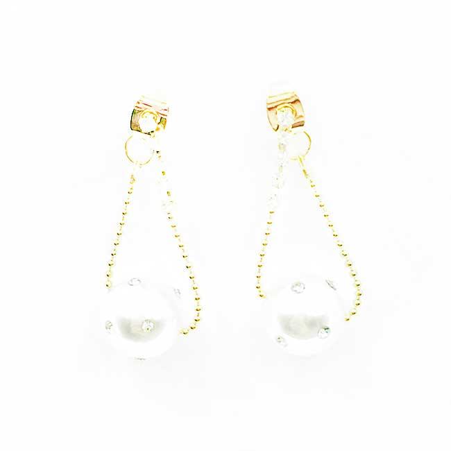 韓國 925純銀 水鑽鍊 珍珠 氣質 垂墜感 耳針式耳環