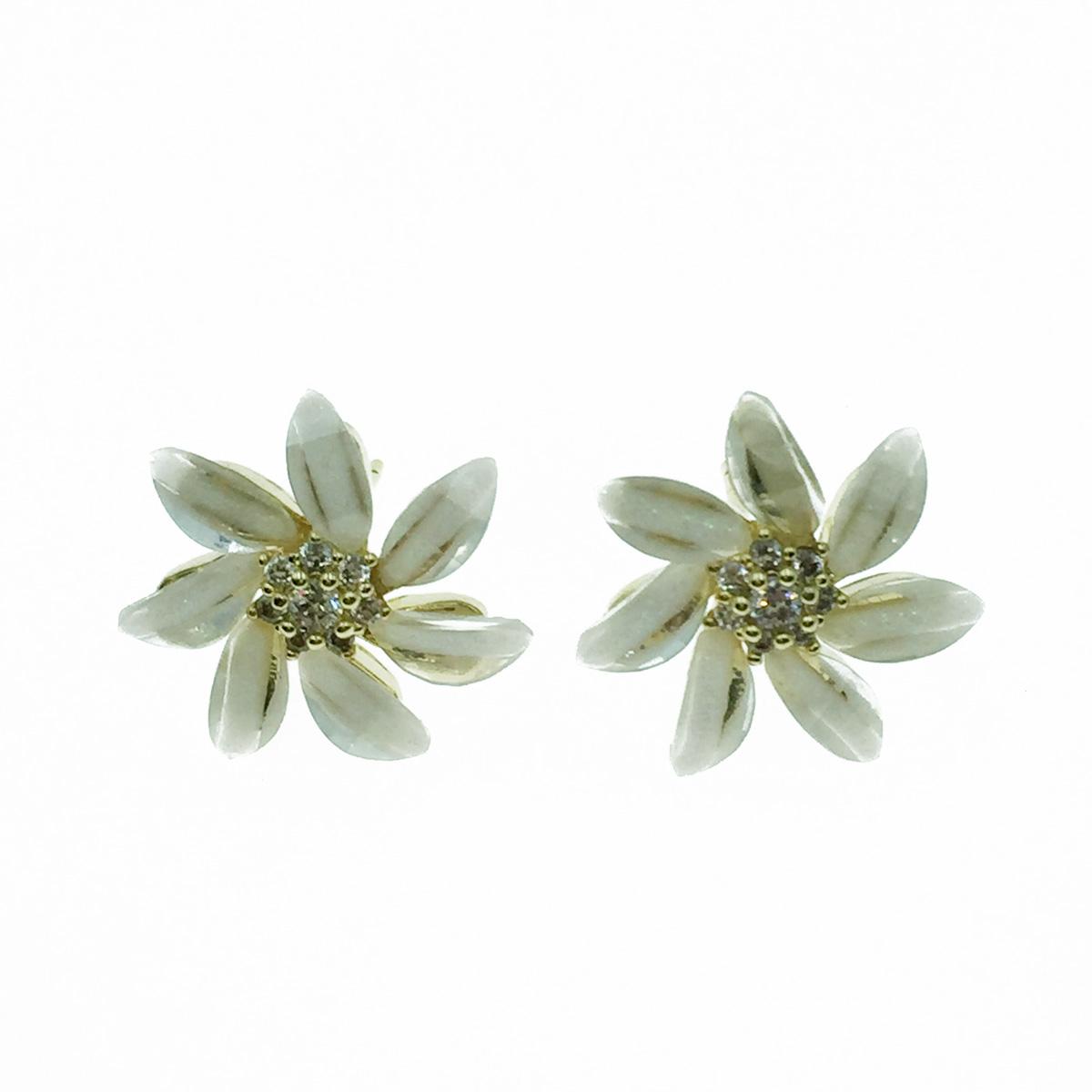 韓國 925純銀 花造型 水鑽花蕊 耳針式耳環