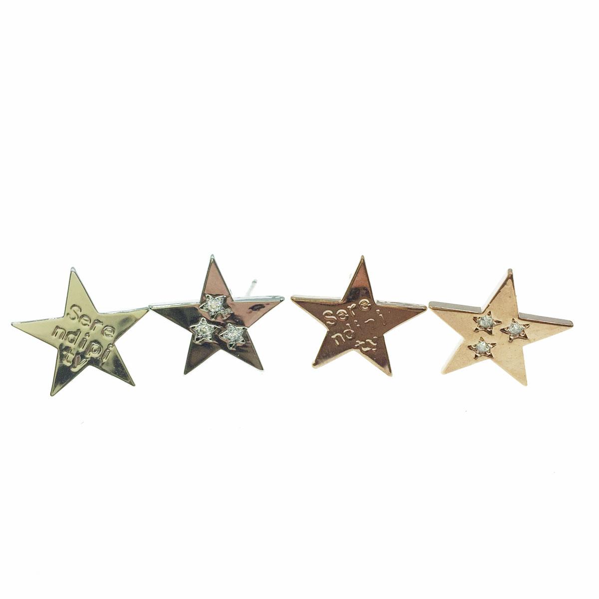 韓國 925純銀 水鑽 星星 造型 銀 玫瑰金 耳針式耳環