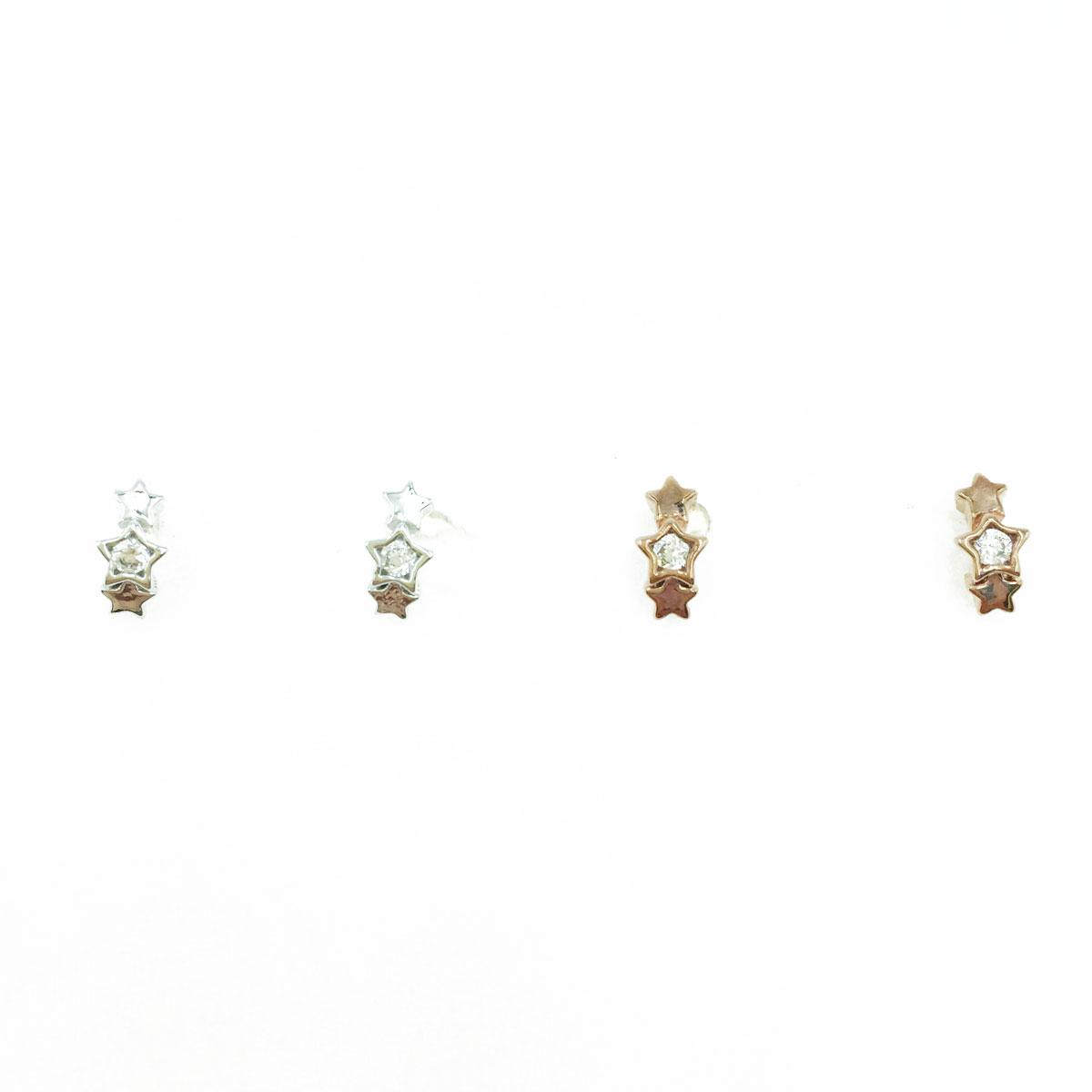 韓國 925純銀 水鑽 小星星 造型 銀 玫瑰金 耳針式耳環