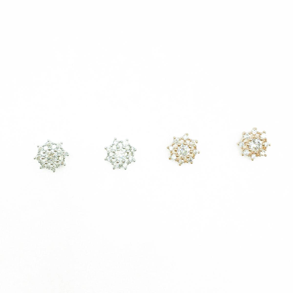 韓國 925純銀 水鑽 雪花 造型 銀 玫瑰金 耳針式耳環
