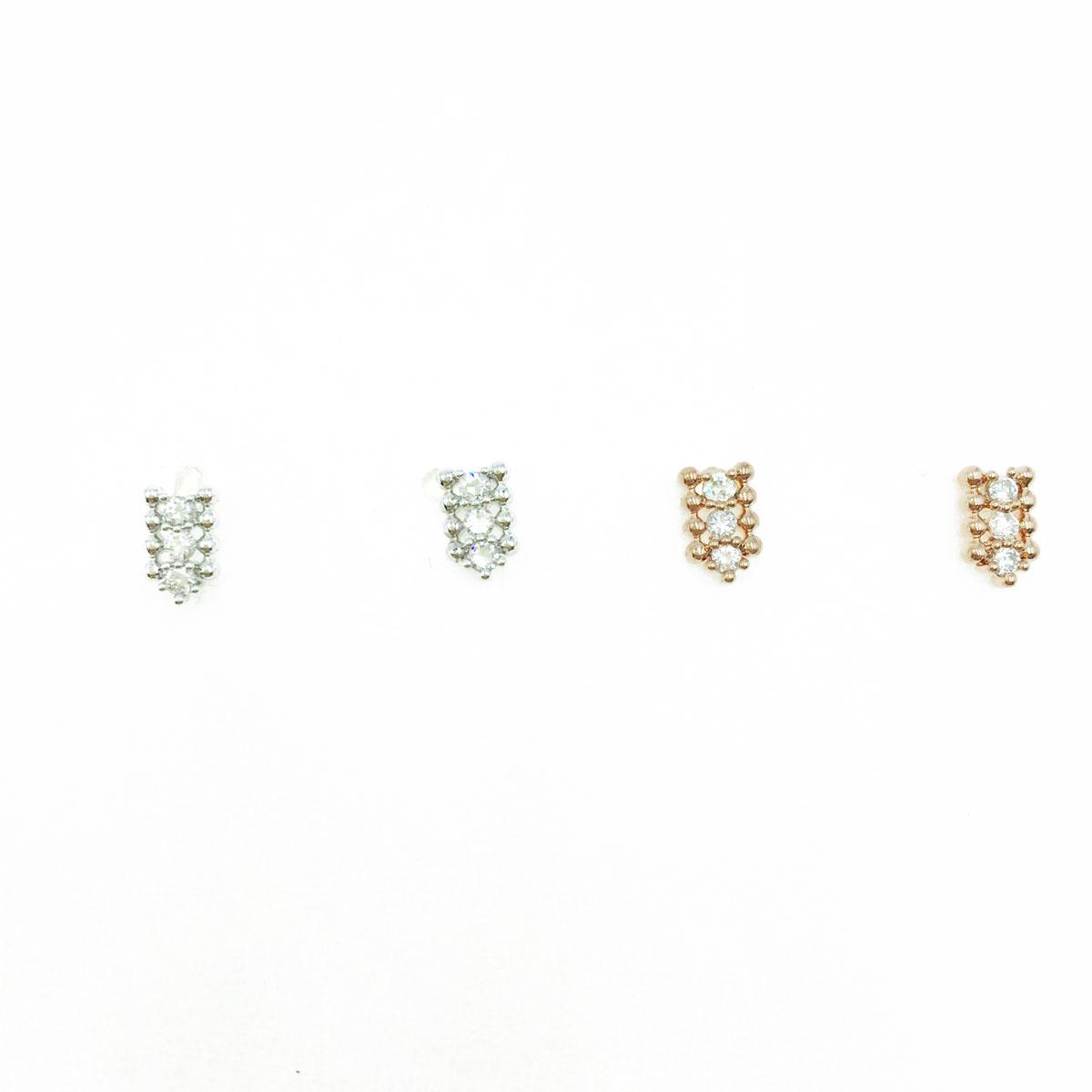 韓國 925純銀 水鑽  造型 銀 玫瑰金 耳針式耳環