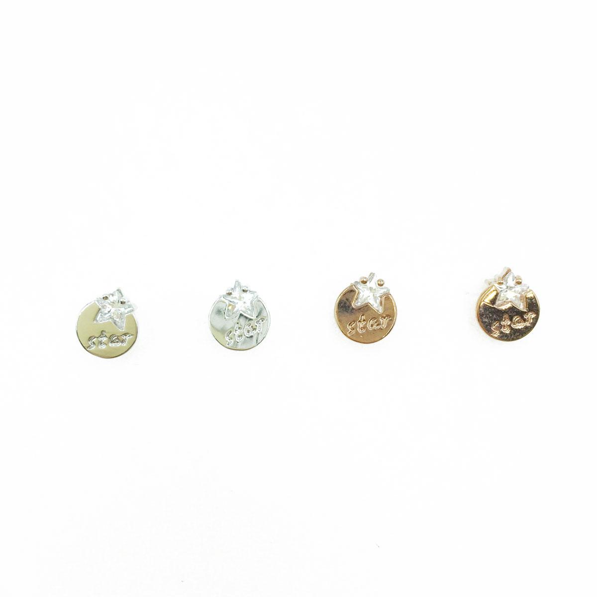 韓國 925純銀 水鑽 star 星 造型 銀 玫瑰金 耳針式耳環