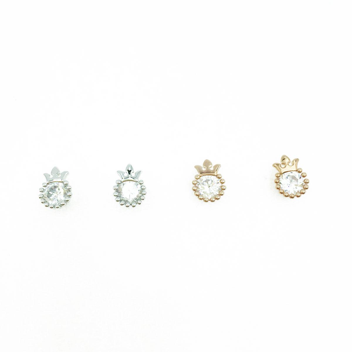 韓國 925純銀 水鑽 皇冠 圓 造型 銀 玫瑰金 耳針式耳環