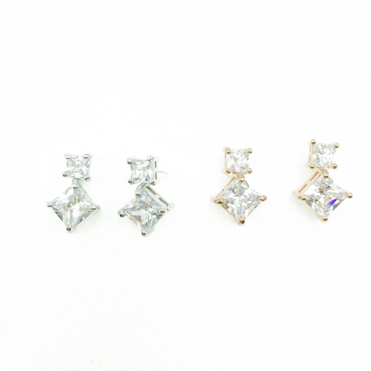 韓國 925純銀 水鑽 大小 方形 銀 玫瑰金 耳針式耳環