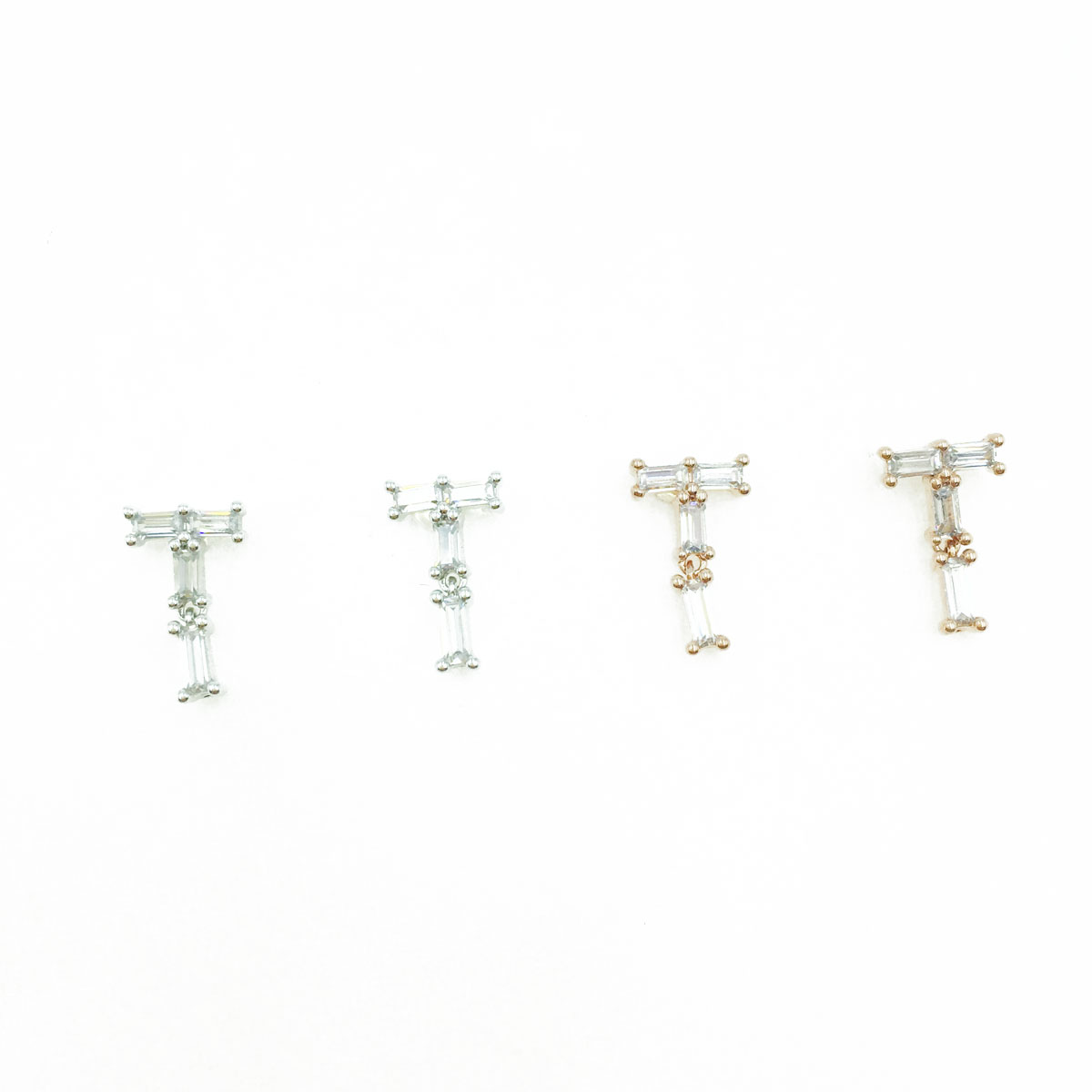 韓國 925純銀 長鑽 T 造型 銀 玫瑰金 耳針式耳環
