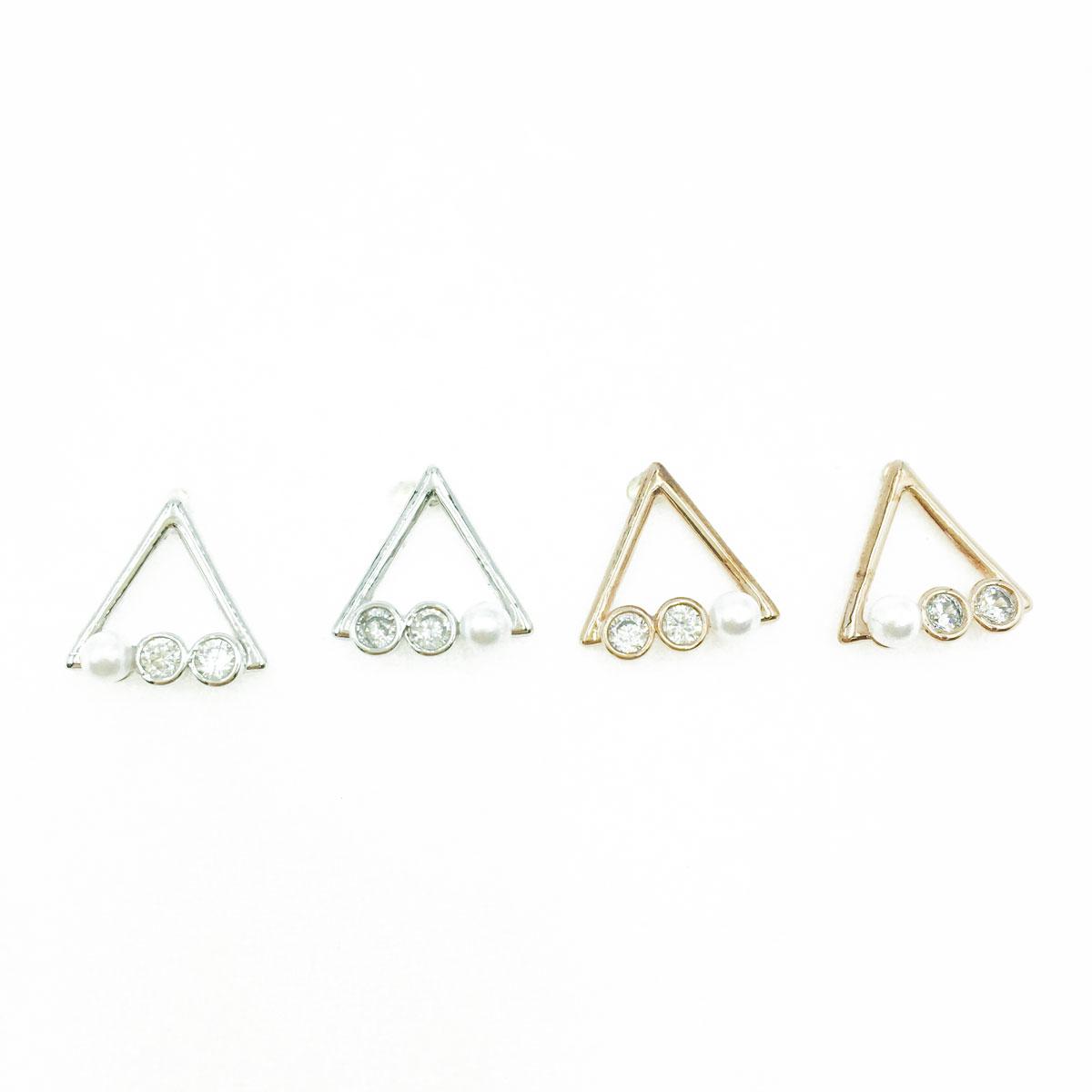 韓國 925純銀 水鑽 珍珠 三角 造型 銀 玫瑰金 耳針式耳環