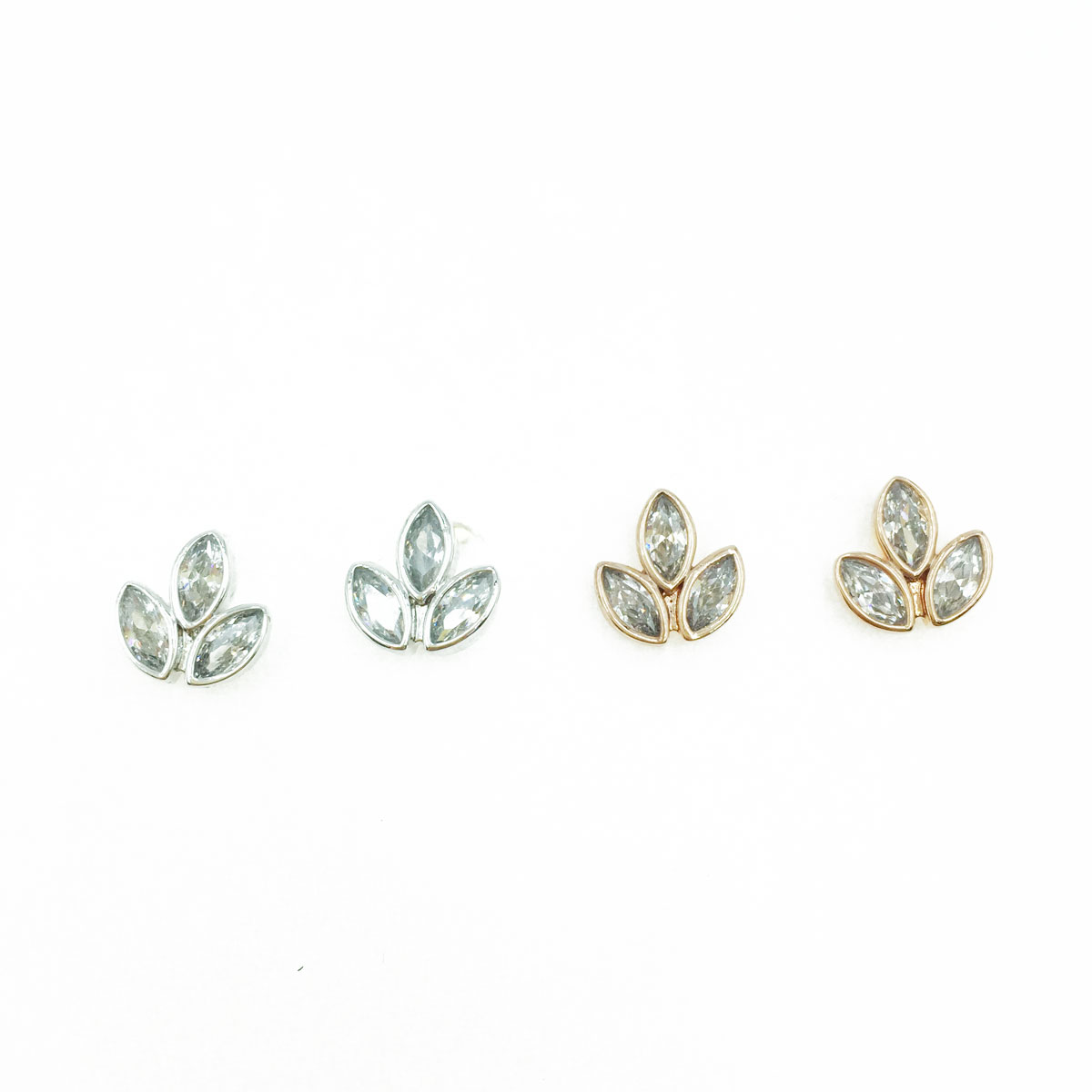 韓國 925純銀 水鑽 葉子 造型 銀 玫瑰金 耳針式耳環