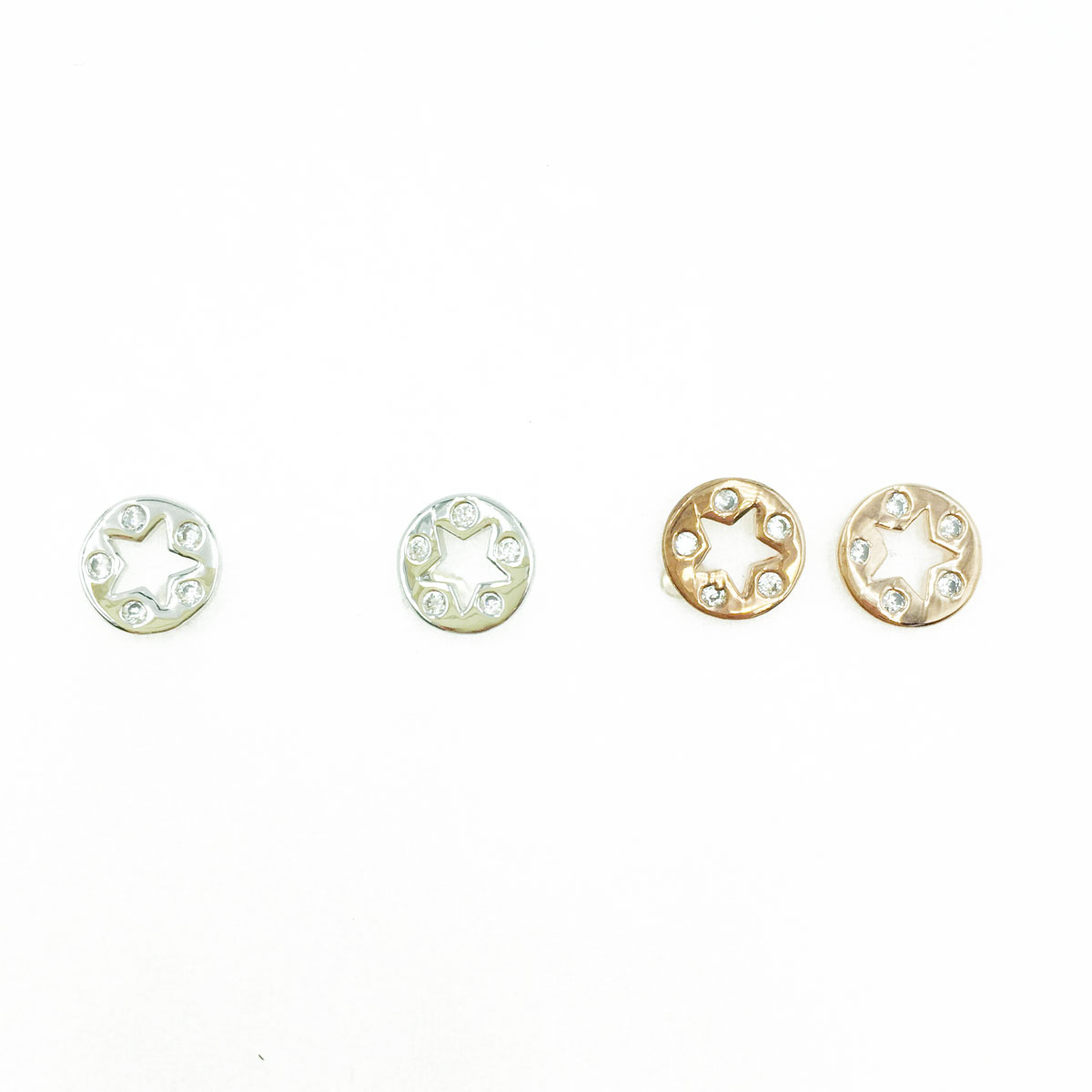 韓國 925純銀 水鑽 簍空 星星 造型 銀 玫瑰金 耳針式耳環