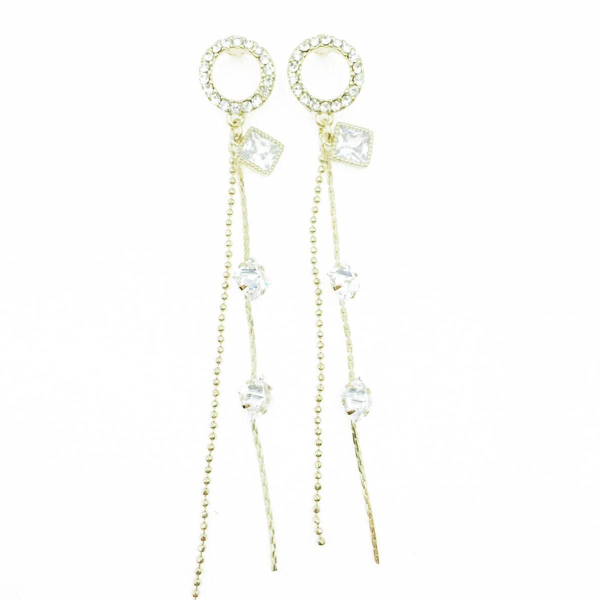 韓國 925純銀 圓形 簍空 水鑽 垂墜感 耳針式耳環