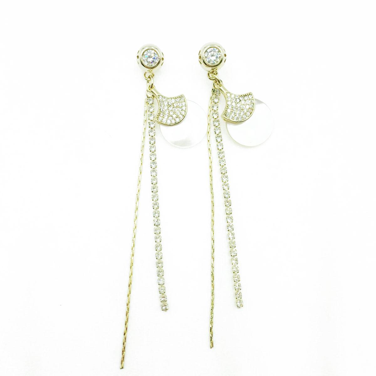 韓國 925純銀 扇狀 水鑽 貝殼圓 造型 垂墜感 耳針式耳環