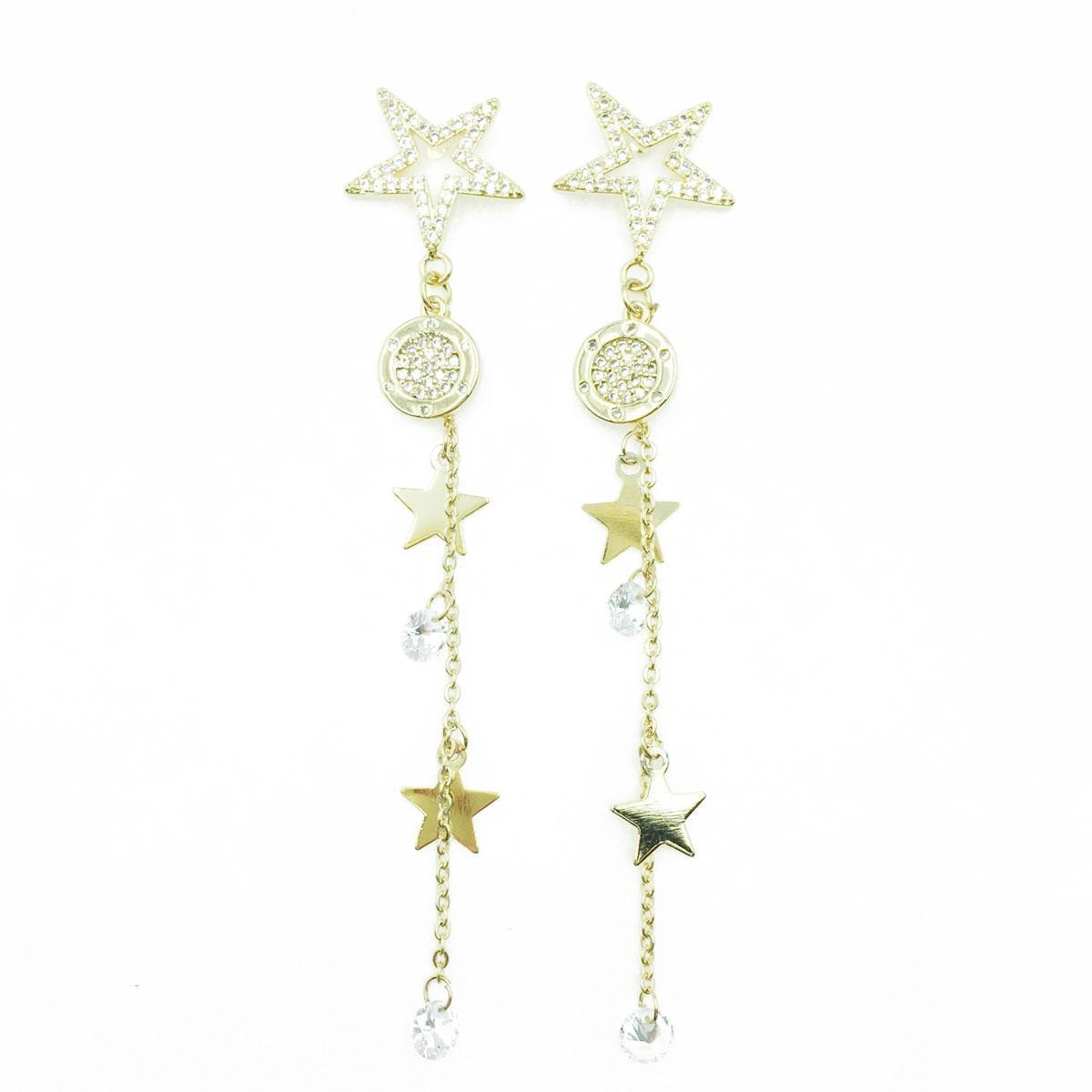 韓國 925純銀 簍空 金屬 星星 水鑽 垂墜感 耳針式耳環