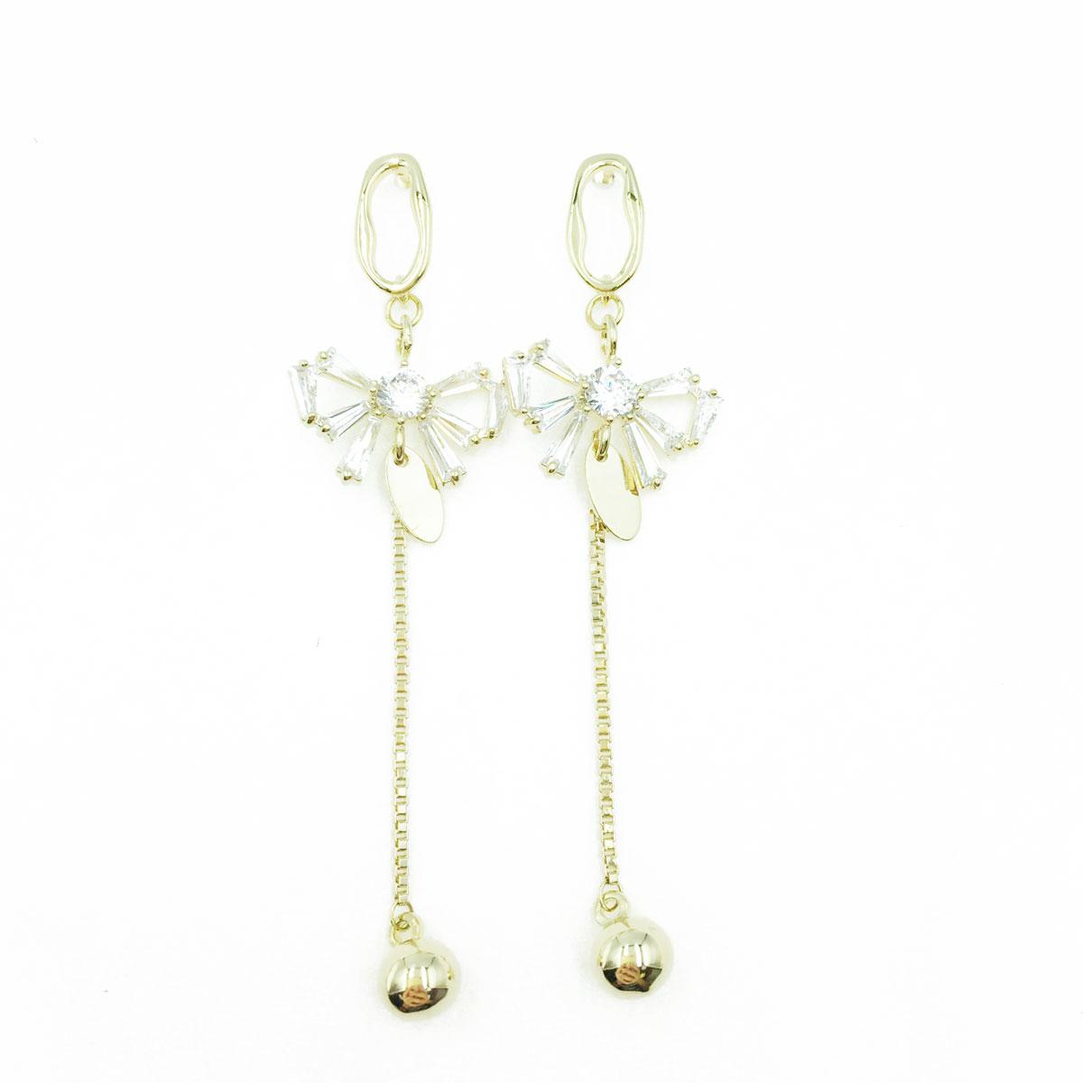 韓國 925純銀 蝴蝶結 簍空 長鑽 垂墜感 耳針式耳環